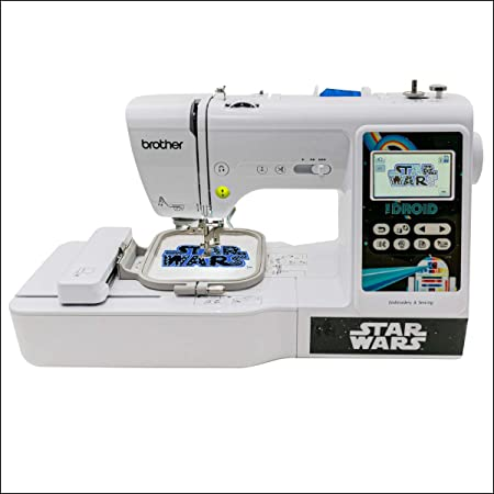 "Brother Sewing and Embroidery Machine, 4 Star Wars Faceplates, 10 Downloadable Star Wars Designs, 80 Designs, 103 Built-In Stitches, 4"" x 4"" Hoop Area, 3.2"" Touchscreen, 7 Included Feet"