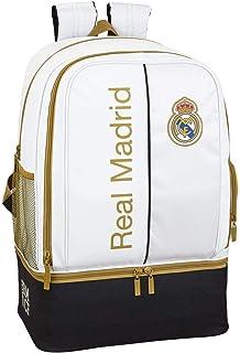 Real Madrid CF Bolsa de Deporte, Mochila con zapatillero Equipaje para niños, Blanco, Talla Única