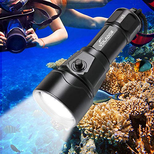 VOLADOR Diving Flashlight, 3500 Lumen Rechargeable Diving Light, 4 CREE XM-L2 LED Scuba Underwater Flashlight 150 Meters Submersible Lights with 1x 26650 Battery and Charger