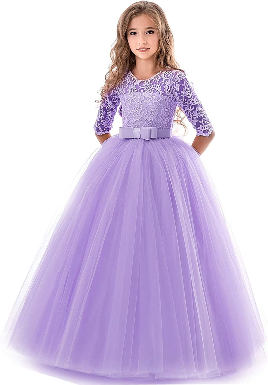 Everbeauty Flower Girl Dress for Wedding Kids Lace Pageant Ball Gowns Formal Pegeant Dance Dresses EHTZ001