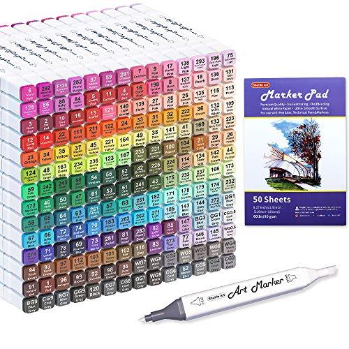 Shuttle Art 205 Colors Dual Tip Alcohol Art Markers, 204 Colors Permanent Marker Plus 1 Blender 1 Marker Pad 1...