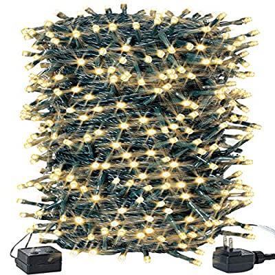 Christmas Lights Outdoor 141FT 400LEDs String Lights Waterproof Plug in LED Lights Warm White for Christmas Tree/ Bedroom/ Party Decoration with 8 Modes Memory Function, 100% UL Listed