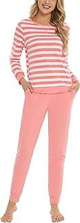 Hawiton Pijamas para Mujer Invierno, Pijama de 95% Algodon de Largo, cómodo Camiseta a Rayas y Pantalones de Color Puro co...