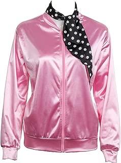 1950S Adult Women Ladies Girls Costume Satin Jacket with Neck Scarf Halloween Fancy Dress Props