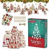 ESMART Calendario Avvento per Natale 24pcs,Sacchetti Regalo Natalizi 12 Vignette da scegliere con 24 Clips 24 Adesivi Numerali e 1 Cordino da 10M Adatto per Decorazioni e Regalo di Natale