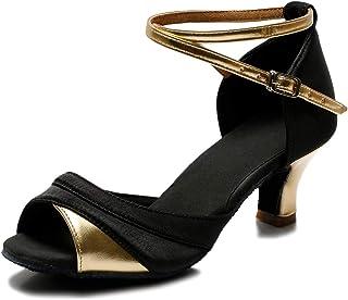 TROWARIAE-Zapatos de Baile Latino de Tacón Alto/Medio para Mujer