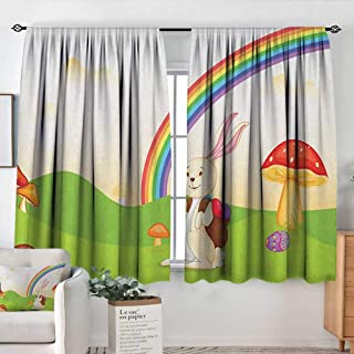 White Curtains Mushroom,Bunny with Easter Egg Under Rainbow Happy Rabbit in Nature Kids Theme Fun Design, Multicolor,Decorative Curtains for Living Room and Bedroom 52