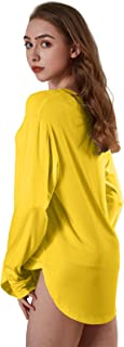 Women's Ultra-Soft Nightgown Casual Long Sleeve Loose Stretchy Sleepwear V-Neck Lounge Shirt with arc Hem