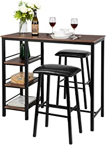 Bonnlo 3-Piece Dining Set Pub Table Set for 2, Counter Height Dining Table Set Kitchen Dining Table with 2 Upholstered Stools & 3 Open Storage Shelves (Walnut)