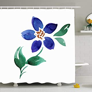 Ahawoso Shower Curtain Set with Hooks 72x78 Colorful Beautiful Forget Me Not Flower Watercolor Nature Green Beauty Bloom Blossom Blueberries Waterproof Polyester Fabric Bath Decor for Bathroom