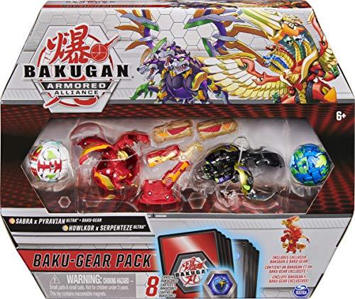 Bakugan Baku-Gear 4-Pack, Fused Sabra x Pyravian Ultra with Baku-Gear and Howlkor x Serpenteze Ultra Collectible Action Figures