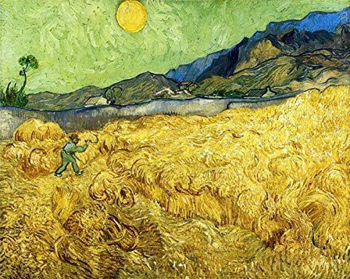 Deerbird Rompecabezas de 1000 piezas para adultos - Van Gogh: campos de trigo con segador al amanecer - famosa serie de pinturas - rompecabezas de calidad 1000 piezas para adultos y adolescentes