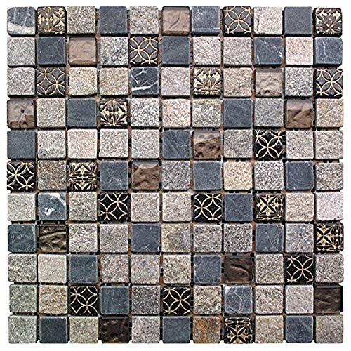 Intrend Tile NS006-D Natural Stone Glass Square Mosaic Blend Tile Sheets, 12 x 12 x .31-Inches, Cloudy Sand