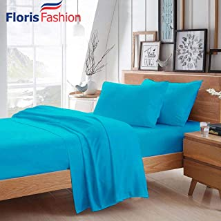 Floris Fashion Twin XL 300TC 100% Egyptian Cotton Turquoise Blue Solid 4 Piece [1 Top,1 Fitted,2 Housewife Pillowcases] Sheet Set Solid (Pocket Size: 14 inches) Easy Care Fabric