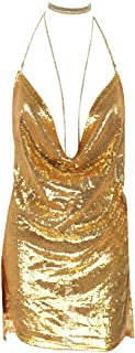 Women Backless Halter Cowl Neck Sequined Bodycon Club Party Mini Dress