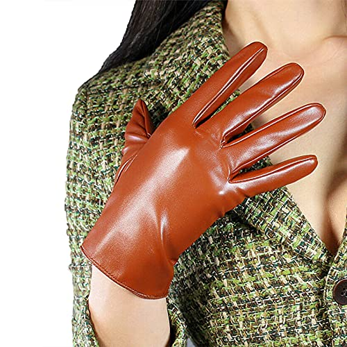 DooWay Short Leather Gloves Faux Sheepskin PU Stretchy Unlined 8-inch Brown Warm Cosplay Party Driving Gloves