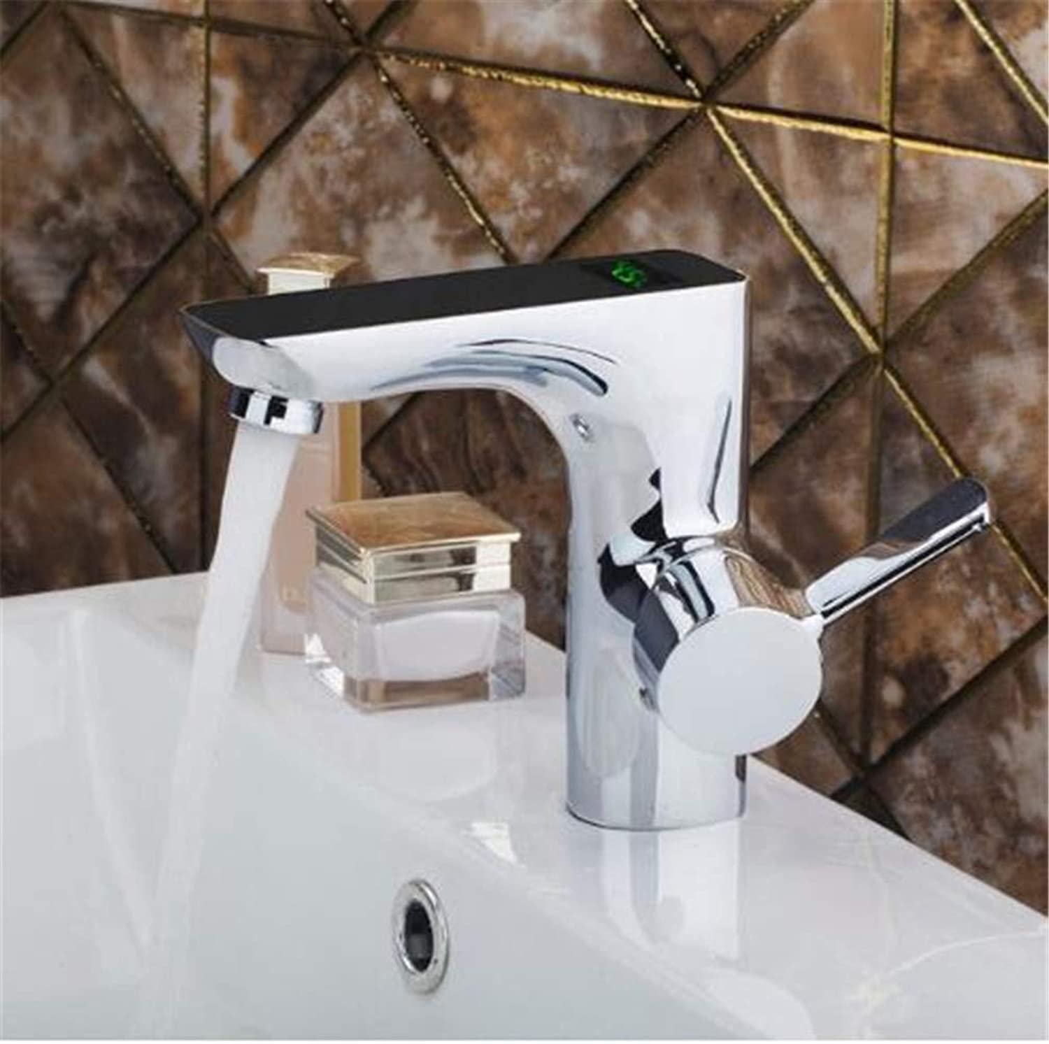 Bathroom Taps Basin Mixer Taps Bathroom Faucet Sinkhot and Cold Digital Display Temperature Hands Temperature Sensor Faucet Bathroom Sink Tap Bathroom Faucet Chrome Brass Material
