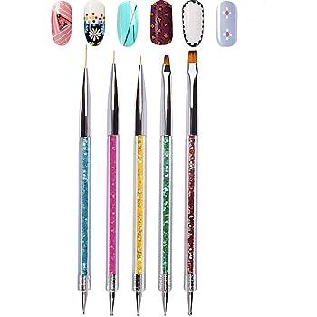 Double Ended Nail Art Brushes, TEOYALL 5 PCS Nail Dotting Pen Liner Brush Nail Art Point Drill Drawing Tools Set