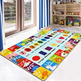 HEBE Kids Play Rug ABC Alphabet Numbers Shapes Educational Area Rug Machine Washable Baby Crawling Mat Non Skid Kid Play Mat Carpet for Girl Boy Bedroom Playroom 3'4'x5'