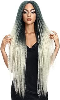 FASHION IDOL Dreadlock Wig Long Lace Front Wig 38 Inch Ombre Green Wig Marley Braids Wig Kanekalon Wig For Black Women(TT GREEN)