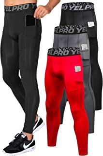 Men's Compression Baselayer Leggings Moisture-Wicking Pocket Active Tights
