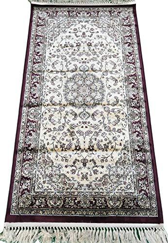 Beluchi Klassischer Teppich mit Fransen, persisches Design, Kunstseide, 80 x 150 cm