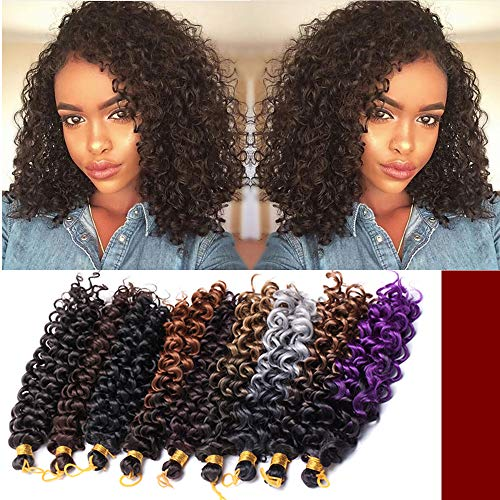 [6 Bundles/ 2PACKS]Marlybob Crochet Hair Extension Marlibob Water Wave Kinky Curly Jerry Curly Braiding Crochet Hair Marley Braid Hair Bundle Synthetic Hairpiece (8'-6bundles,Dark Brown)