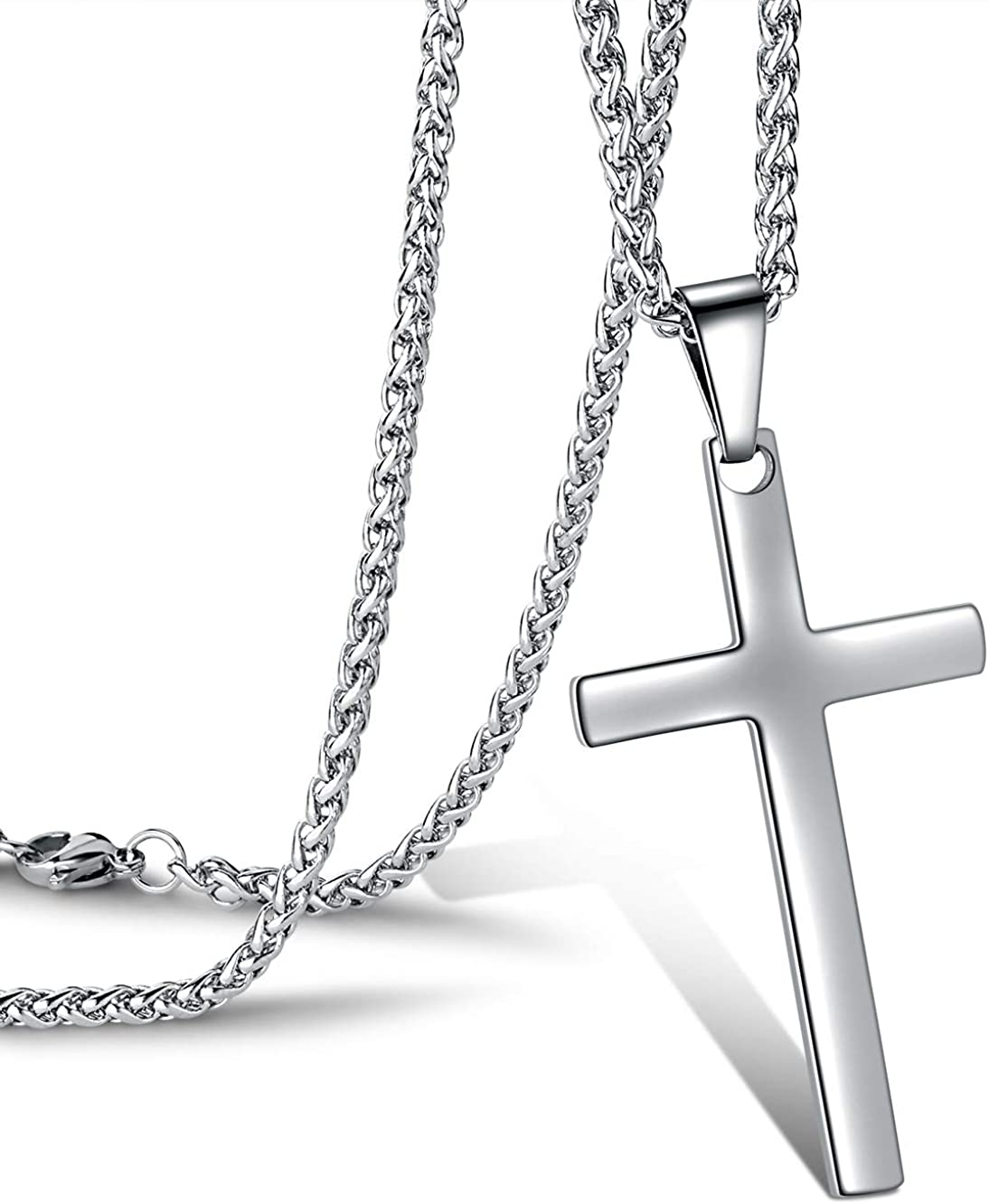 Jwelbuete Cross Pendant Necklace for Men Stainless Steel Titanium Necklace,18-36 Inches