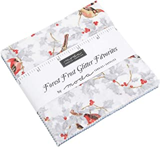MODA Forest Frost Glitter Favorites Charm Pack Classics; 42-5 inch Precut Fabric Quilt Squares