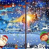 Luming Navidad Pegatina de Pared Copo de Nieve Alce Decoración de Navidad Lindo Santa Claus Navidad Tienda de Ventana Pegatinas Reutilizable Bricolaje Pegatinas Electrostáticas para Ventanas (D*9PCS)