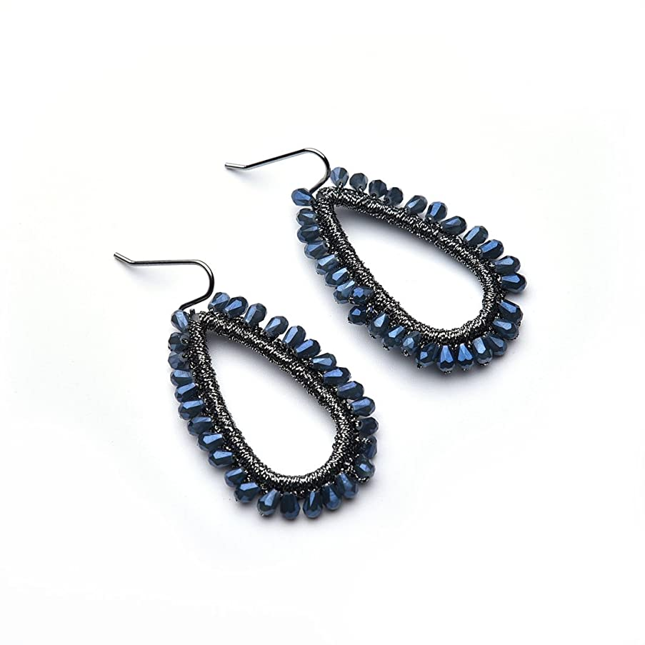 YIFEI Handcrafted Earrings Wire Wrapped Beads Droplet Earrings Light Grey for Girls Women