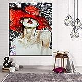 Sombrero Rojo niña Pintura Lienzo decoración del hogar colorante Mujer Pintura Arte de la Pared r 40x60cm