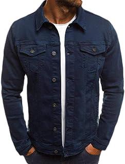 Macondoo Men's Casual Button Down Pocket Washed Jean Coat Denim Jacket