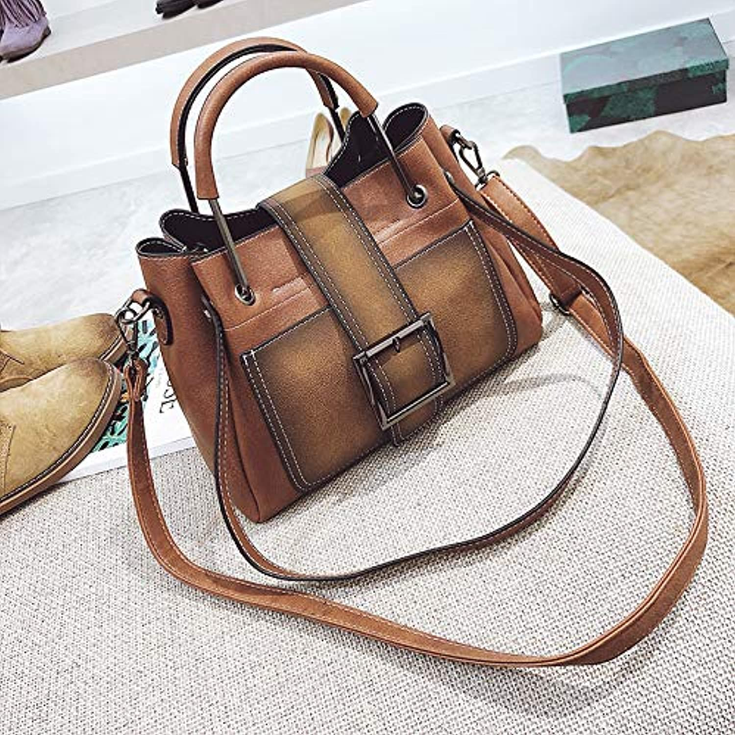 WANGZHAO Women's Bag, Shoulder Bag, Satchel Bag, Handbag, Simple Retro Fashion Lady 26X10X9Cm