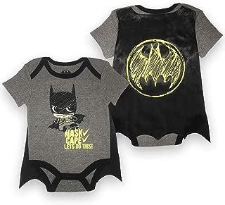 Infant Boys Batman Bodysuit Set - DC Comics Batman Short Sleeve Cape Onesie (Black/Grey, 3M-6M)