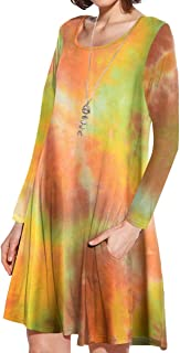 JollieLovin Women Long Sleeve Dress with Pockets Plus Size Swing Casual Loose Tshirt Dresses T02-Orange S