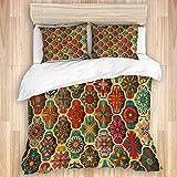 Funda nórdica, patrón retro indio africano, motivo abstracto vintage, batik, flores de sol, texturas, alfombra mexicana, oriental, juego de cama de microfibra de calidad, ultra suavidad, diseño modern