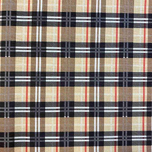 Kt KILOtela Tela de Patchwork - Estampación Digital - 100% algodón - Retal de 100 cm Largo x 140 cm Ancho | Cuadro escocés - Marrón, Rojo, Negro ─ 0,50 Metro