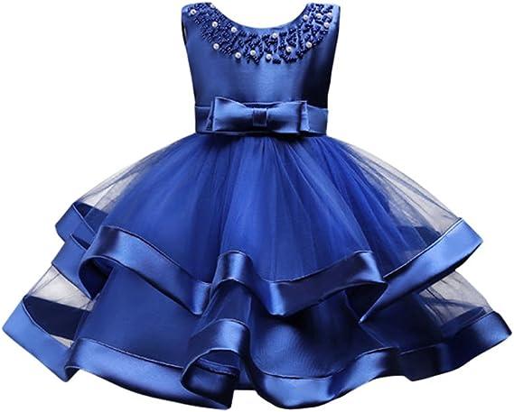 Vestido De Tul Con Flores De Perlas Para Niñas Y Niñas Tutú Para Boda Fiesta De Cumpleaños Classic 6 7 Años Azul Oscuro Clothing