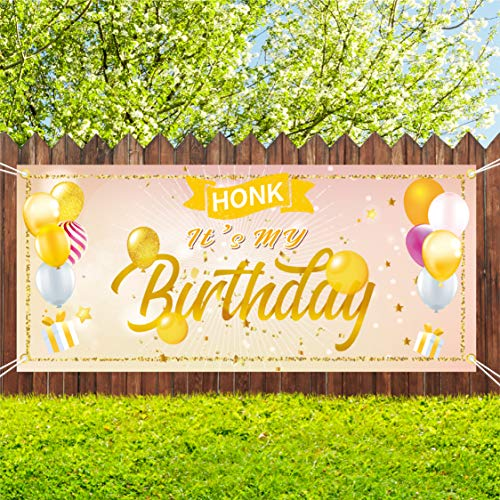 Sunshine Happy Birthday Yard Sign for Women, Rose Gold HONK IT'S My Birthday Quarantine Banner 71''x40'', Large Fabric Hanging Flags Decorations for Women Outdoor Indoor…