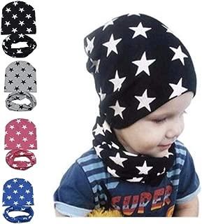 ivyacen Fashion Baby Winter Warm Scarf Hat Set Star Printed Scarves Caps for Children