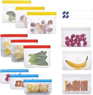 Paquet de 12 sacs réutilisables pour la conservation des aliments, sacs de congélation PEVA sans BPA, sacs de congélation ...