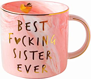 Vilight Best Sister Ever Funny Gifts Mug - Pink Marble Ceramic Coffee Cup 11.5 Oz