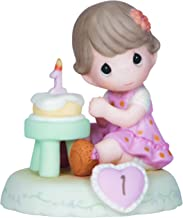 Precious Moments, Growing In Grace, Age 1, Bisque Porcelain Figurine, Brunette Girl, 142010B