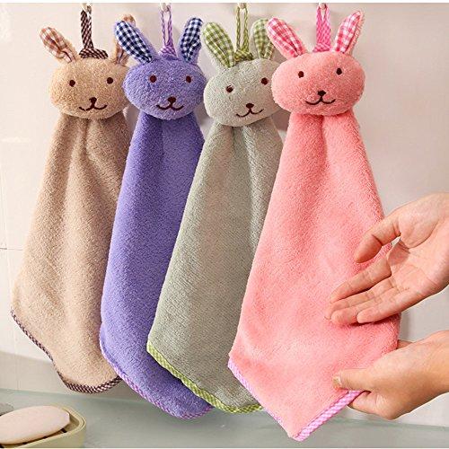 Pas cher Serviette bébé serviette à main dessin animé animal lapin en peluche cuisine doux suspendu bain lingette serviette cuisine , salle à manger et bar big sales