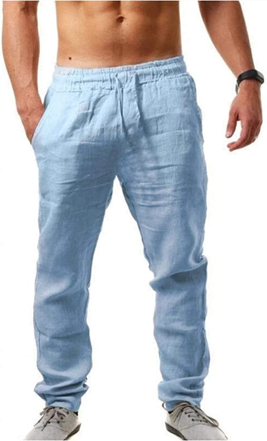 Max 59% OFF DZQUY Popular product Casual Cotton Linen Pants Loose Fit Straight-Legs Drawstri