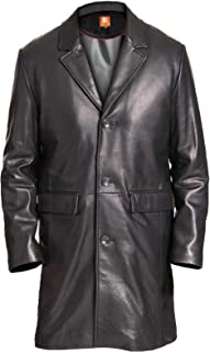 Original Leather, ¾ Length, Black Long Coat, Trench Coat, Hip Height, Real Leather