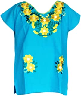 Autentic Traditional Women's Mexican Peasant Blouse Cotton Tops Shirt Embroidered on Looms of Mexican artisans (Large, Blue)