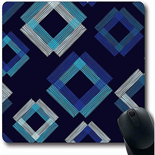 Mousepads Abstract Geometrisch Patroon Veelkleurige Vierkanten Tissue Blouse Boho Border Canvas Ontwerp Gekleurde Oblong Vorm 18X22Cm Antislip Gaming Mouse Pad