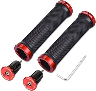 TOPCABIN Bicycle Grips,Double Lock on Locking Bicycle Handlebar Grips Rubber Comfortable..